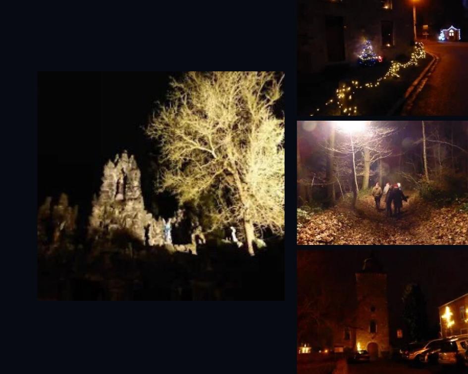 grotte illuminé lors de la marche gourmande